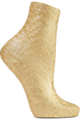 Maria La Rosa Ribbed Metallic Silk-blend Socks - Gold