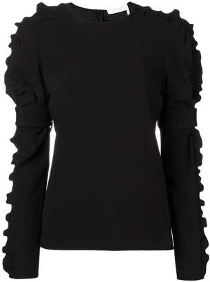 Chloé ruffle-trim crepe blouse