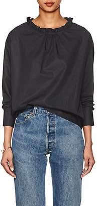 Atlantique Ascoli Women's Ruffled-Neck Cotton Poplin Top - Black