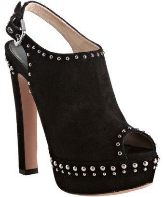 Prada black suede studded peep toe slingbacks