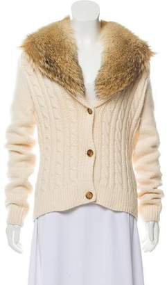 Michael Kors Fur-Trimmed Cashmere Cardigan