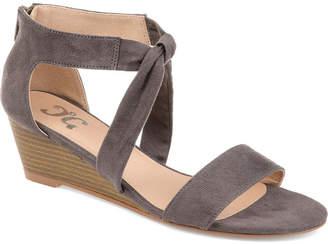 Journee Collection Womens Mattie Pumps Zip Open Toe Wedge Heel