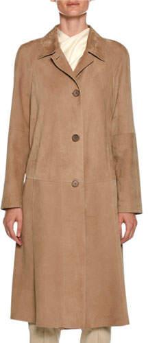 Giorgio Armani Lamb Leather Suede Trench Coat