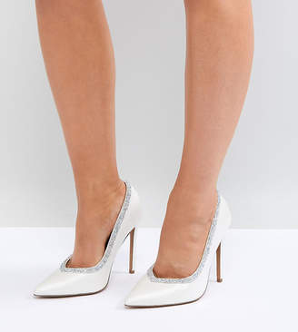 Asos Design DESIGN Wide Fit Phoenix bridal high heeled court shoes in ivory