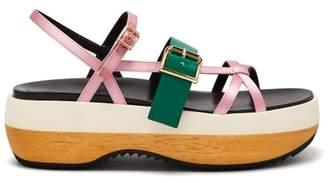 Marni Slingback Satin And Leather Flatform Sandals - Womens - Pink Multi