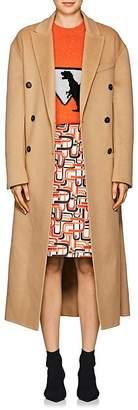 Prada Women's Brushed Wool-Blend Melton Double-Breasted Coat