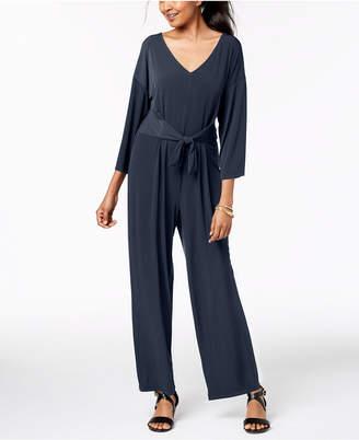 NY Collection Petite Tie-Waist Wide-Leg Jumpsuit
