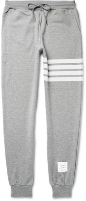Thom Browne Tapered Striped Loopback Cotton-Jersey Sweatpants $590 thestylecure.com