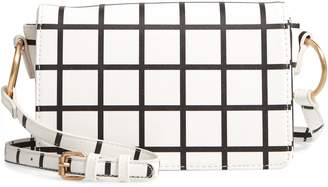 BP Windowpane Check Faux Leather Crossbody Bag