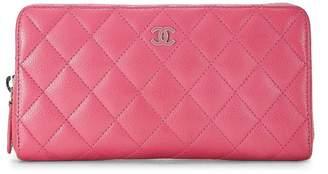 Chanel Pink Quilted Calfskin Zip-Around Wallet