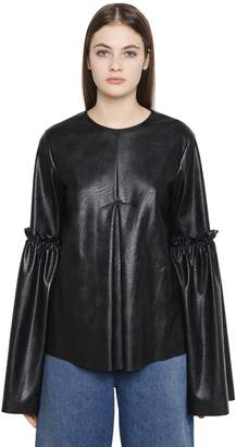 MM6 MAISON MARGIELA Faux Leather Bell Sleeve Top