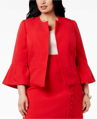 Nine West Plus Size Ruffle-Sleeve Jacket