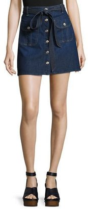 7 For All Mankind A-Line Button-Front Denim Miniskirt, Indigo $179 thestylecure.com