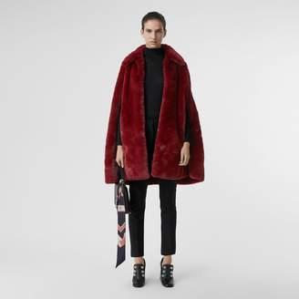 Burberry Faux Fur Cape , Size: M/L, Red