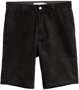 H&M Knee-length Corduroy Shorts - Black