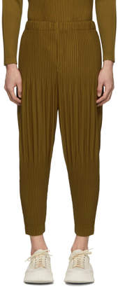 Issey Miyake Homme Plisse Tan Cropped Wide Pleat Trousers