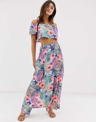 Influence floral print beach maxi skirt with thigh splits co-ord