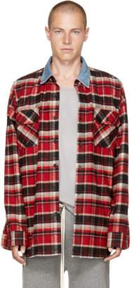 Fear Of God Red Check Denim Collar Shirt
