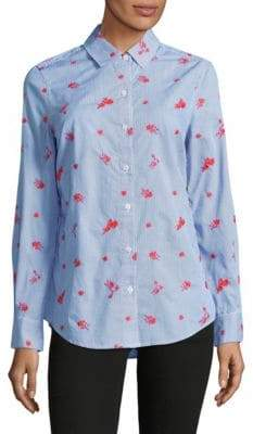 Lord & Taylor Petite Sadie Embroidered Stripe Cotton Button-Down Shirt