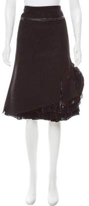 Boudicca Plissé-Accented Wool Skirt