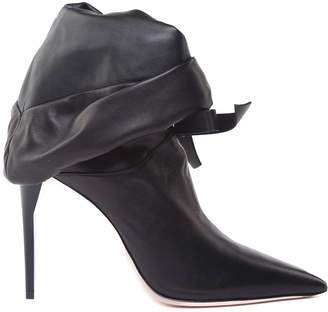 Miu Miu Bow-embellished Leather Ankle Boots