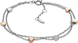 Fossil Heart Tri-Tone Steel Double-Chain Bracelet