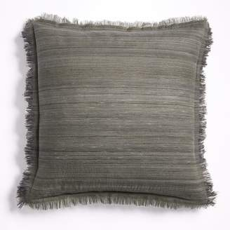 west elm Textured Silk Fringe Pillow Cover - Green Bark
