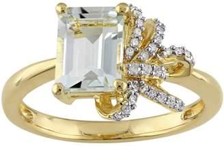 Laura Ashley Lifestyles Sterling Silver Green Quartz & 1/10 Carat T.W. Diamond Bow Ring