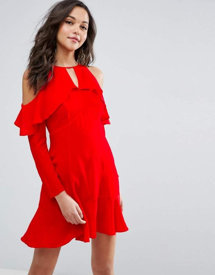 AsosASOS Cold Shoulder Ruffle Tea Dress