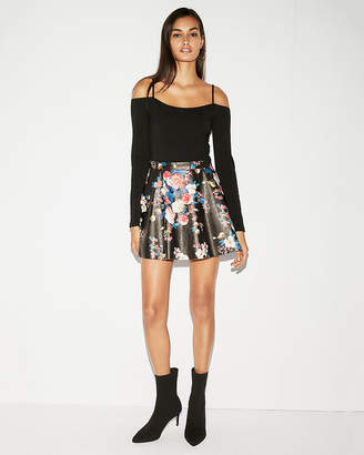 Express Minus The) Leather Floral Flared Skirt