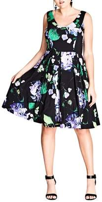 City Chic Cinematic Floral Fit & Flare Dress
