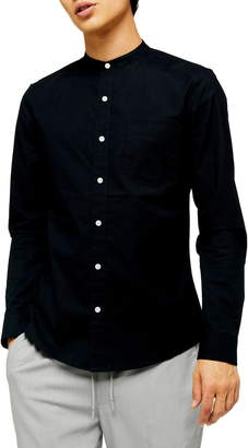 Topman Slim Fit Band Collar Oxford Button-Up Shirt