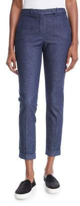 Loro Piana Davis Skinny Chambray Ankle Pants