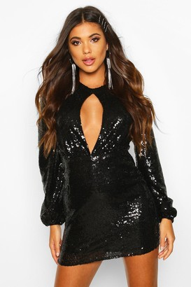 boohoo Sequin Keyhole Long Sleeve Bodycon Dress