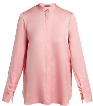 Alexander McQueen Silk Satin Long Sleeve Blouse - Womens - Pink