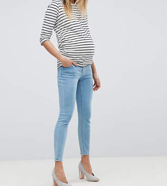 Asos (エイソス) - ASOS Maternity ASOS DESIGN Maternity Ridley high waist skinny jeans in bright light stone wash with under the bump waistband