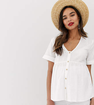 92f6f0d12dd Asos DESIGN Maternity button through smock in seersucker sun top