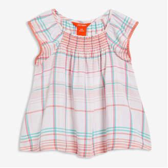 Joe Fresh Kid Girls' Flutter Sleeve Top, White 2 (Size XL)