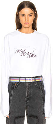 Vetements Inside Out Long Sleeve Graphic Tee in White & Hot Like Me | FWRD