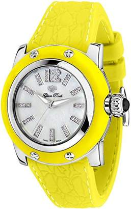Glam Rock Women's GR40304YYF Palm Beach Diamond Accented White Dial Yellow Silicone Watch