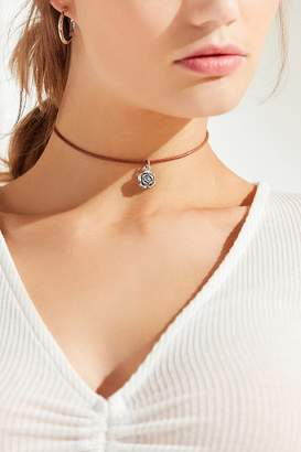 Urban Outfitters Leather Floral Charm Choker Necklace
