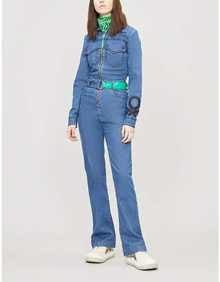 Benetton Contrast-belt stretch-denim jumpsuit