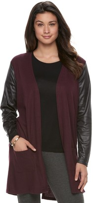 Laundry by Shelli Segal Women's French Laundry Faux-Leather Mixed-Media Cardigan