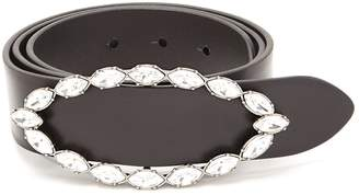 Saint Laurent Crystal-embellished buckle leather belt