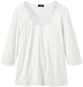 Via Appia Women's Crew Neck 3/4 Sleeve T-Shirt - Beige