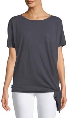 Allen Allen Dolman-Sleeve Cotton Tie Hem Tee