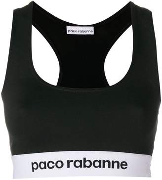 Paco Rabanne logo embroidered sports top