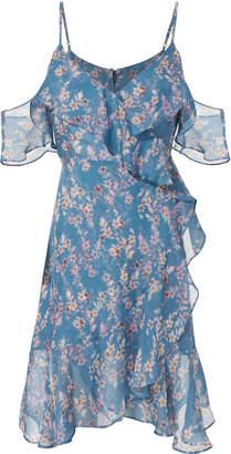Intermix Marissa Blue Vine Ruffled Dress