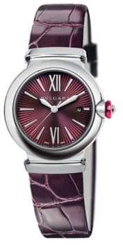 Bvlgari LVCEA Stainless Steel& Purple Alligator Strap Watch