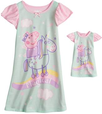 """Toddler Girl Peppa Pig """"Magical"""" Unicorn Nightgown & Doll Nightgown"""